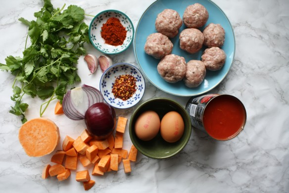 Sausage and sweet potato shakshouka recipe wish to dish