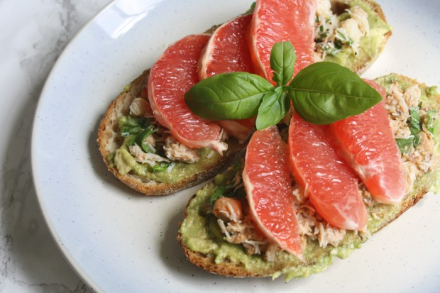 crab avocado toast with grapefruit wish to dish recipe 1