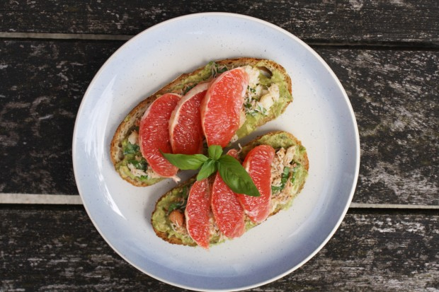 crab avocado toast with grapefruit wish to dish recipe 3