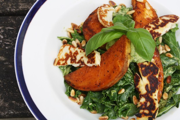 Kale, halloumi, sweet potato salad wish to wish recipe (5)