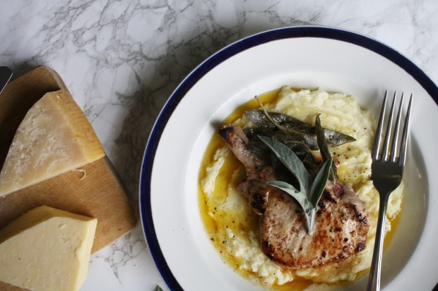 sage and brown butter pork chops with a parmesan mash wish to dish recipe (5)