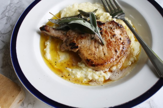sage and brown butter pork chops with a parmesan mash wish to dish recipe (7)