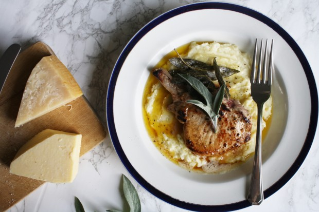sage and brown butter pork chops with a parmesan mash wish to dish recipe (9)