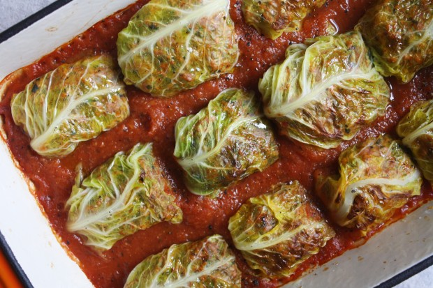 Pork And Thyme Stuffed Cabbage Leaves With A Smooth Tomato Sauce Wish To Dish