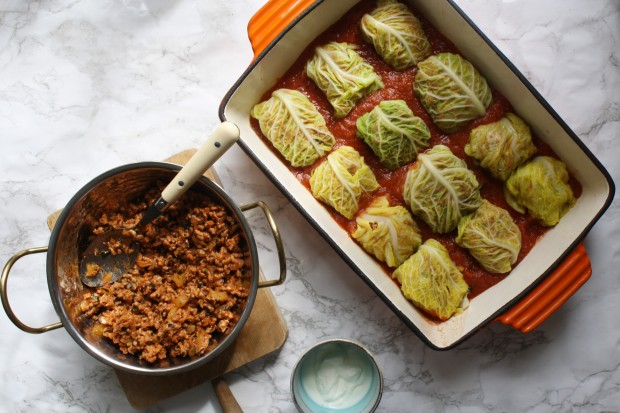 Pork stuffed cabbage leaves on tomato sauce wish to dish recipe (8)