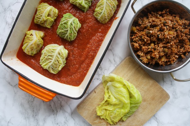 Pork stuffed cabbage leaves on tomato sauce wish to dish recipe