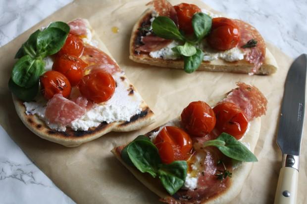 Tomato, ricotta and salami flatbread wish to dish recipe (7)